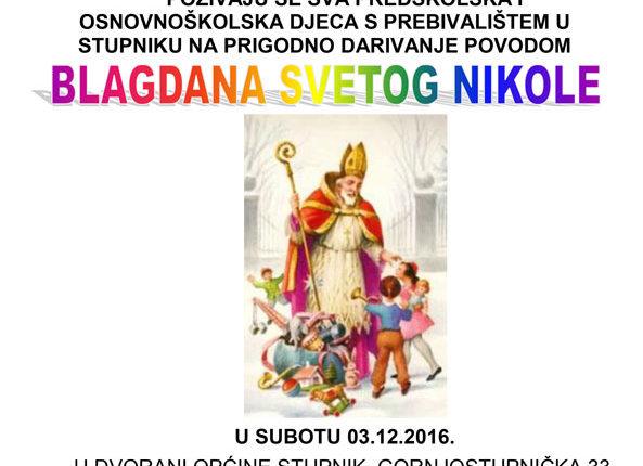 Poziv djeci za blagdan Svetog Nikole